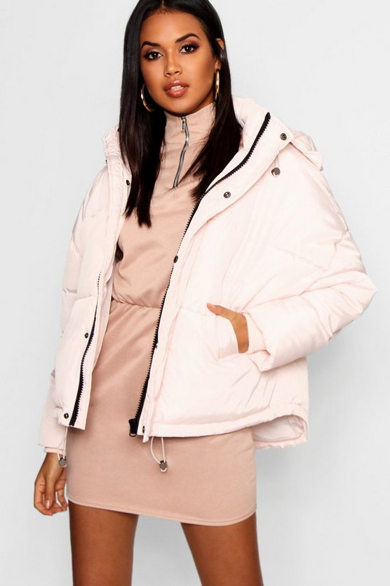 Womens Oyster Oversized Hooded Puffer Jacket