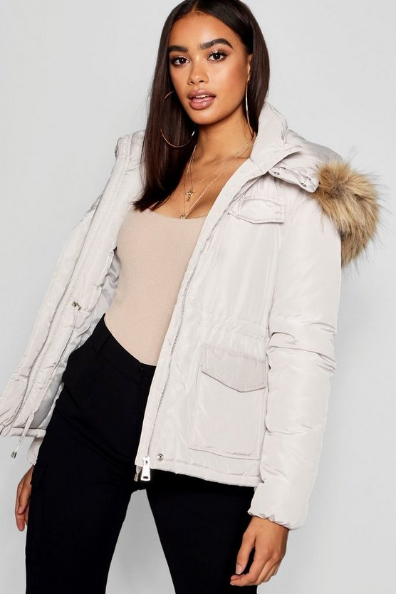 Pocket Detail Faux Fur Trim Puffer Jacket