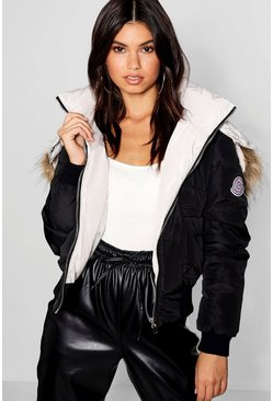Womens Black Contrast Hood Faux Fur Trim Puffer Jacket