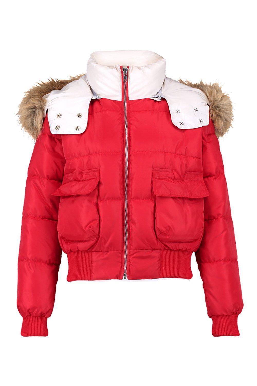 de con capucha de con detalle rojo y piel sintética plumas contraste Chaqueta FqwEdF