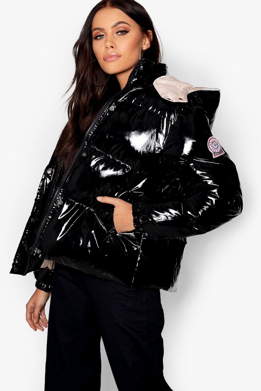 Hooded Vinyl Puffer Jacket Boohoo