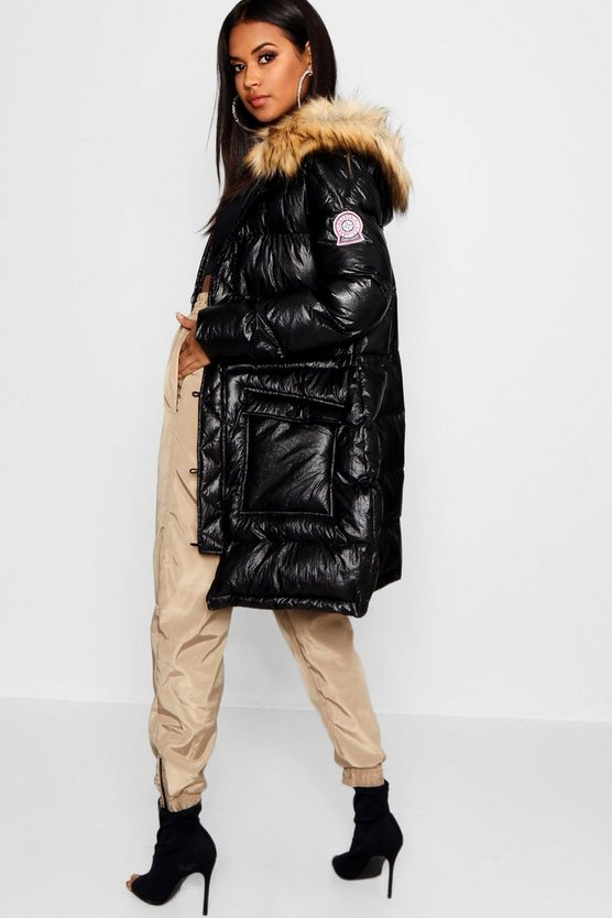 Matte Metallic Sporty Puffer Jacket