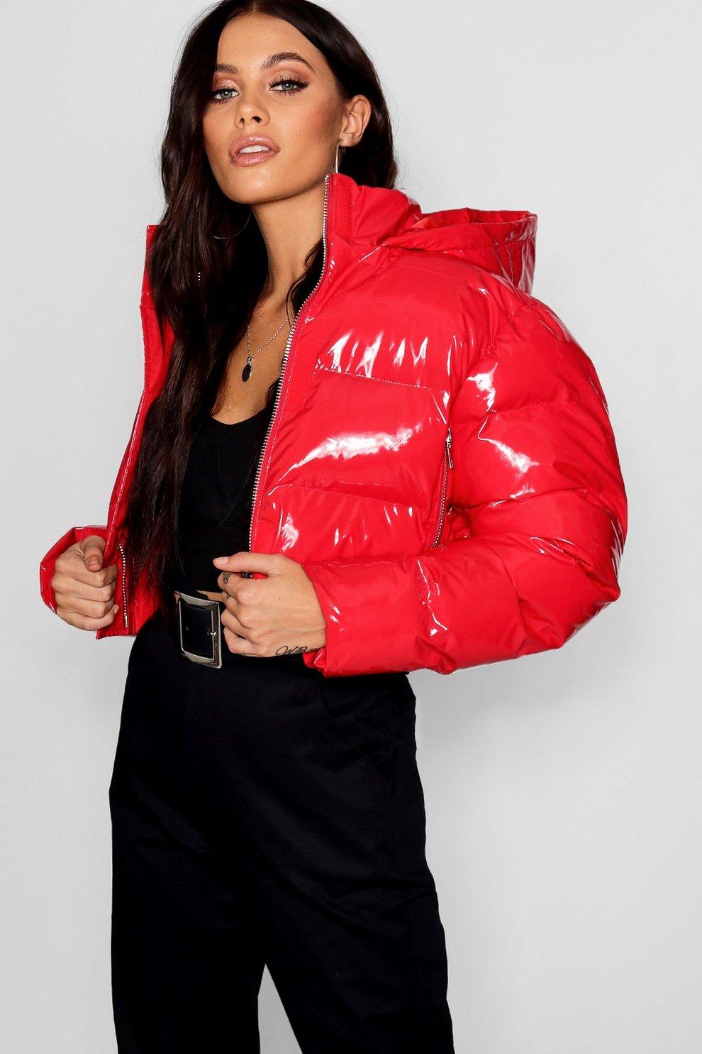 Crop Vinyl Puffer Jacket Boohoo