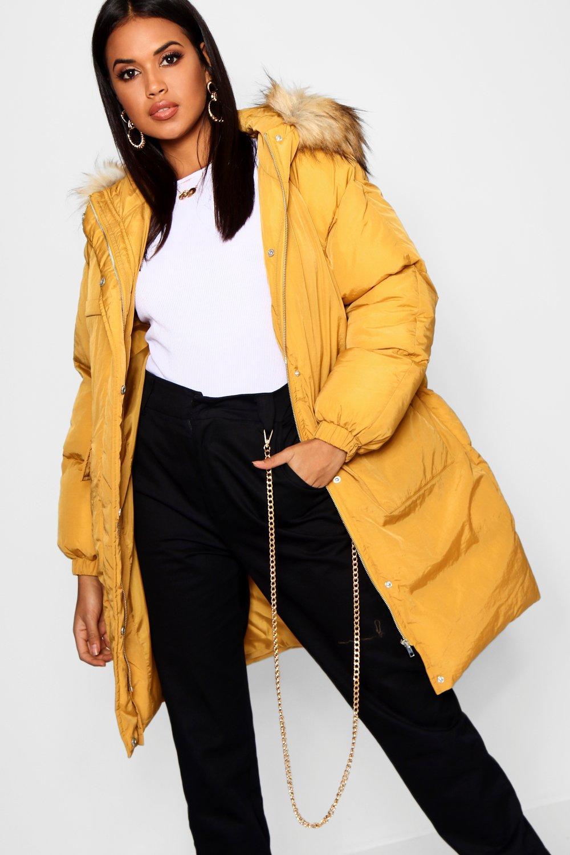 mostaza adorno largo y piel de plumas capucha Abrigo con sintética de EvqRgY