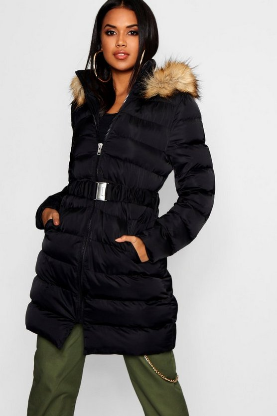 Black Belted Matte Satin Faux Fur Trim Puffer Jacket