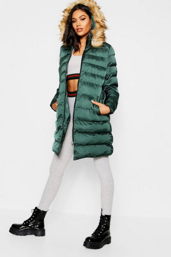 Womens Midnight green Belted Matte Satin Faux Fur Trim Puffer Jacket