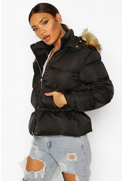 Black Matte Satin Faux Fur Trim Puffer