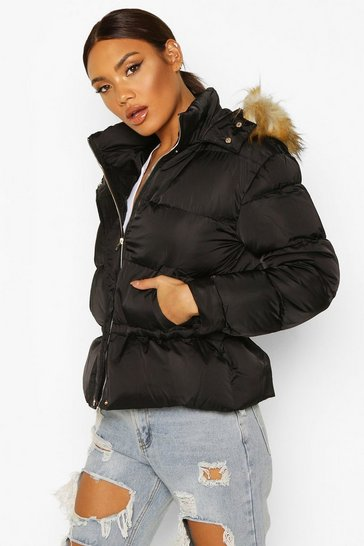 Womens Black Matte Satin Faux Fur Trim Puffer