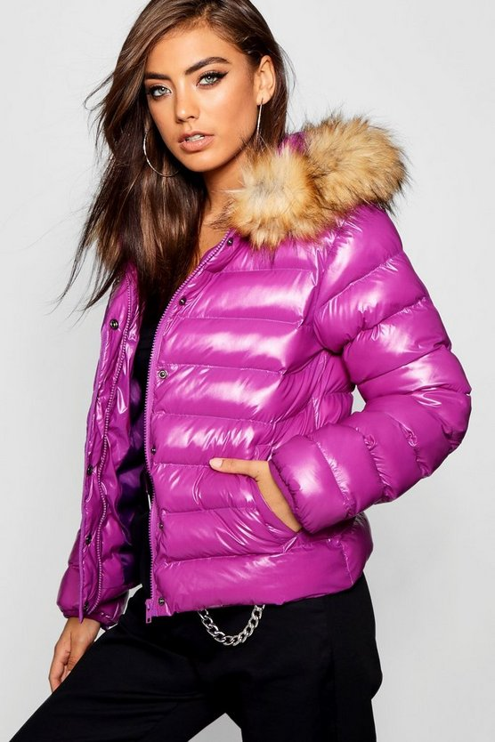 Womens Purple Coated Faux Fur Trim Hood Puffer