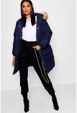 Womens Navy Longline Faux Fur Trim Hooded Puffer Coat
