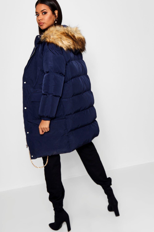 adorno plumas sintética de capucha y de con Azul Abrigo largo piel marino ZxTwpSpg
