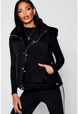Womens Black Funnel Neck Padded Gilet