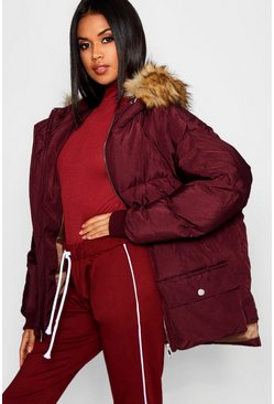 Womens Red Faux Fur Trim Hood Puffer Jacket