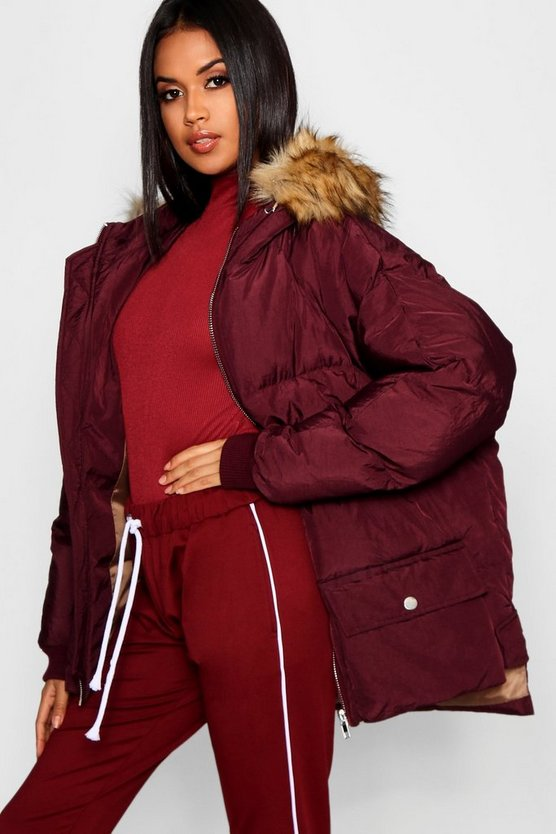 Faux Fur Trim Hood Puffer Jacket