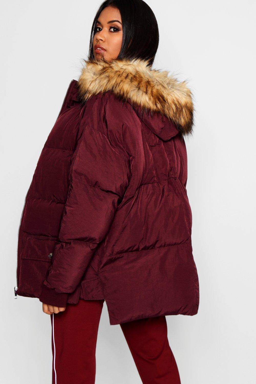 piel con y sintética Chaqueta adorno rojo capucha de plumas de qUIWw0xRE
