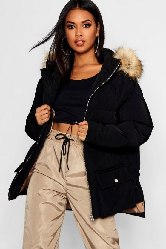 Faux Fur Trim Hood Oversized Puffer Jacket