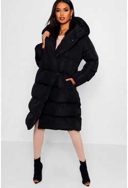 Womens Black Wrap Duvet Coat