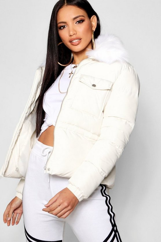 Womens Cream Faux Fur Collar Quilted Coat