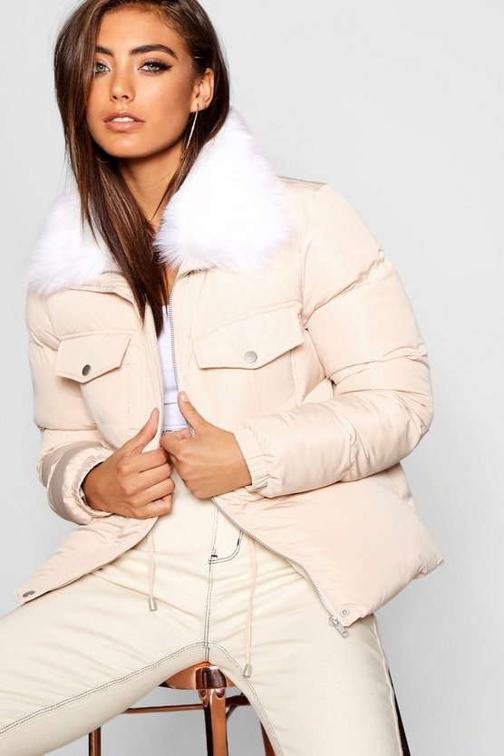 Faux Fur Collar Quilted Coat