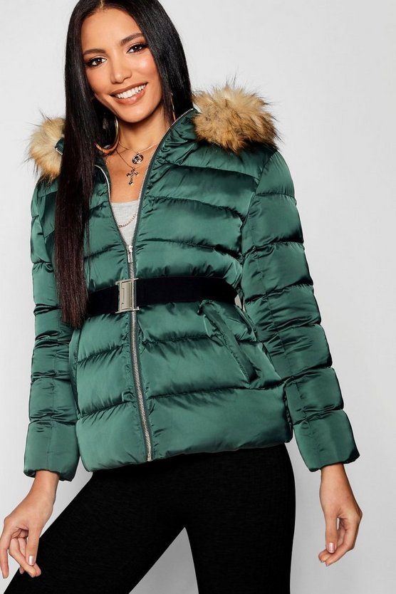 Womens Midnight green Matte Satin Belted Puffer Jacket
