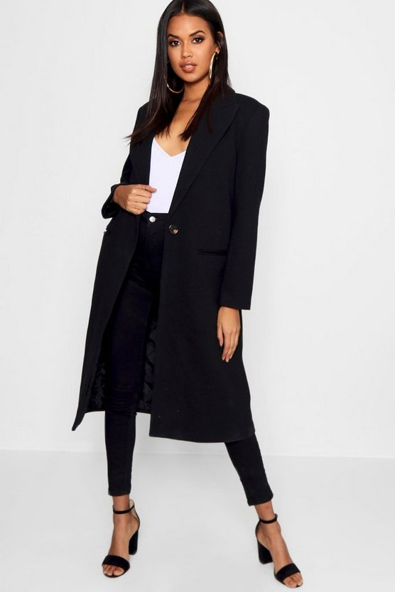 Womens Black Tailored Twill Coat
