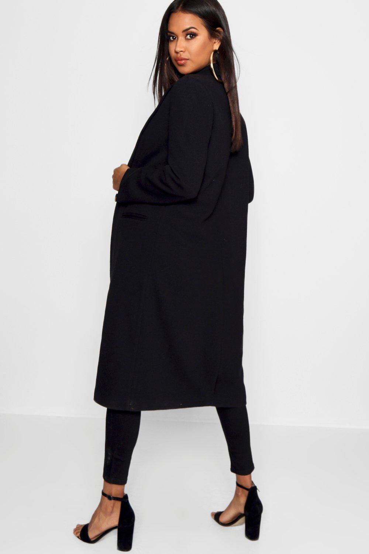entallado sarga de Abrigo Abrigo de negro wxUTvaPq