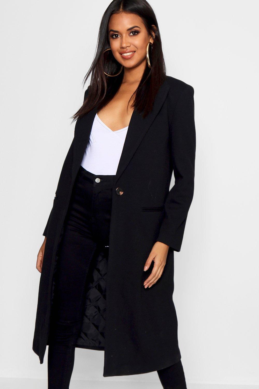 Abrigo entallado sarga de Abrigo sarga entallado negro Abrigo de negro de qPfpwIPzg
