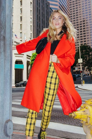 Womens Red Tailored Twill Coat