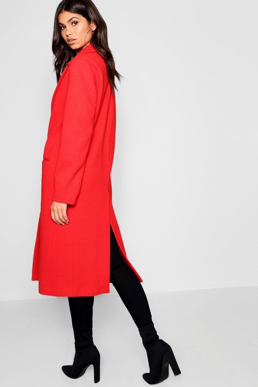 Abrigo Abrigo de entallado de rojo sarga sarga ZrwUpqZ