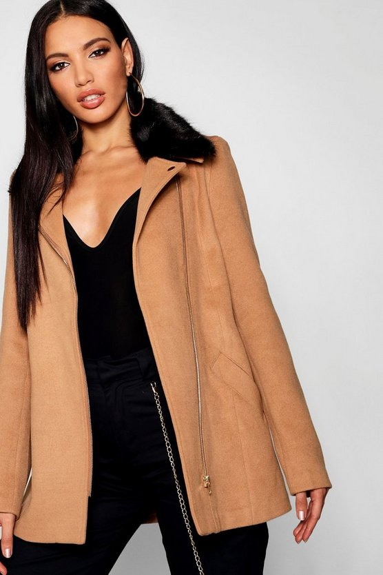 Womens Camel Faux Fur Collar Wool Look Coat