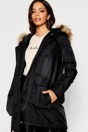 Womens Black Faux Fur Trim Sporty Parka