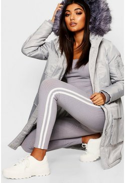 Womens Grey Faux Fur Trim Sporty Parka