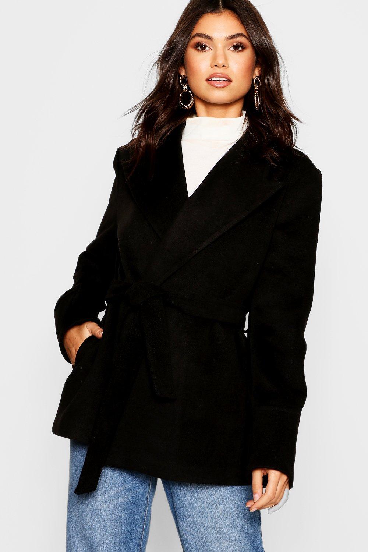 cinturón con cinturón Abrigo negro Abrigo con Abrigo negro corto corto qF5wR80
