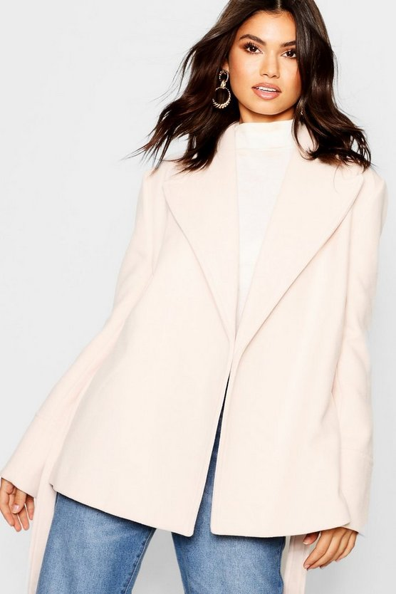 Womens Cream Belted Crop Coat