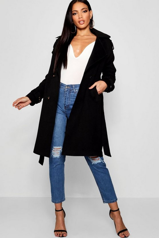 Oversized Wool Look Trench Coat