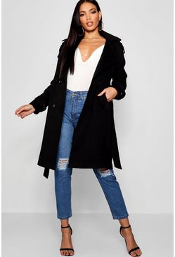 Womens Black Oversized Wool Look Trench Coat