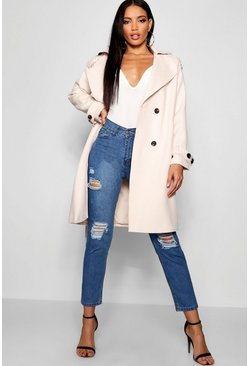 Womens Cream Oversized Wool Look Trench Coat