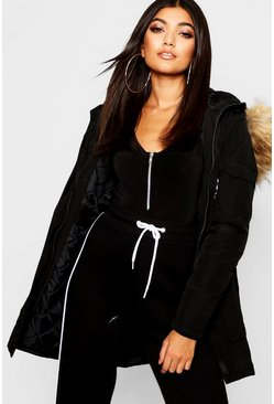 Black Luxe Faux Fur Trim Sporty Parka