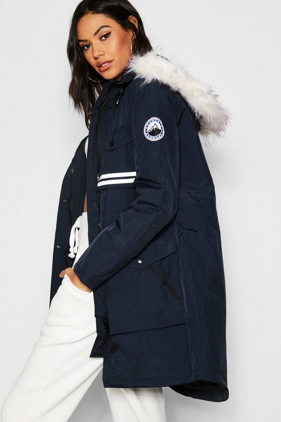 Womens Navy Luxe Arctic Faux Fur Parka
