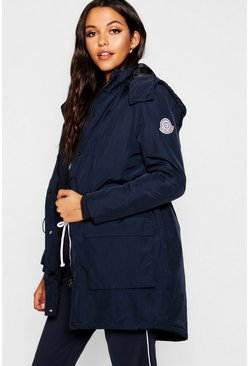 Womens Navy Sporty Parka with Detachable Gilet