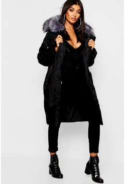 Womens Black Oversized Faux Fur Fly Hood Luxe Parka