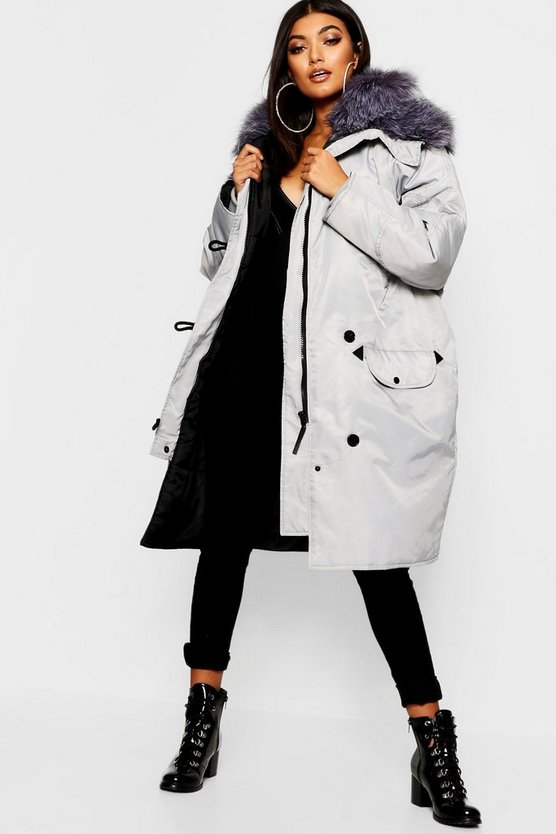 Womens Dove Oversized Faux Fur Fly Hood Luxe Parka