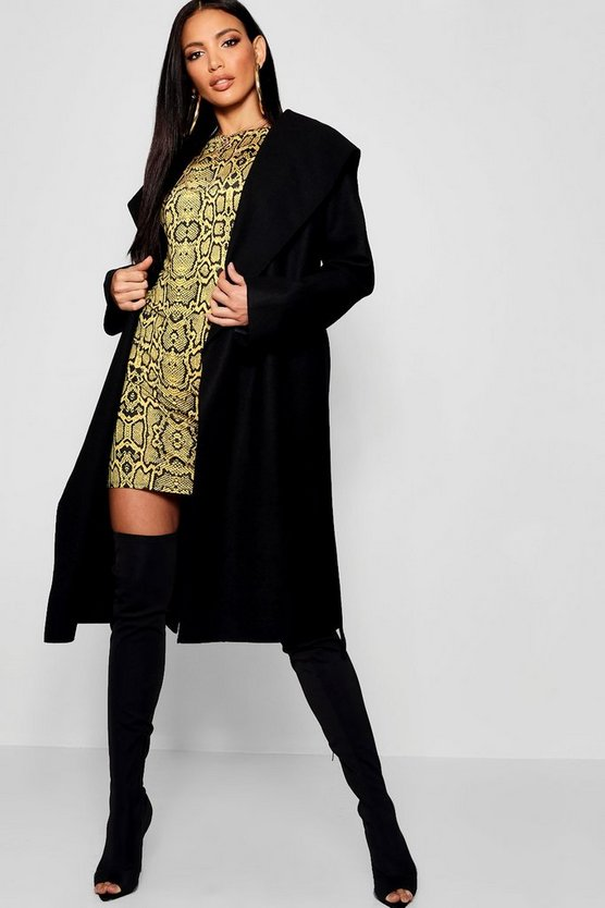 Womens Black Hooded Wool Look Belted Coat
