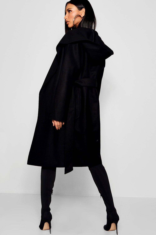con cinturón con Abrigo negro efecto y capucha RwtwqOd