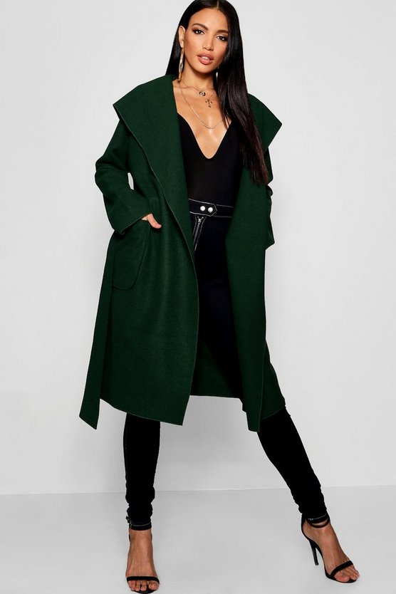 Hooded Wool Look Belted Coat