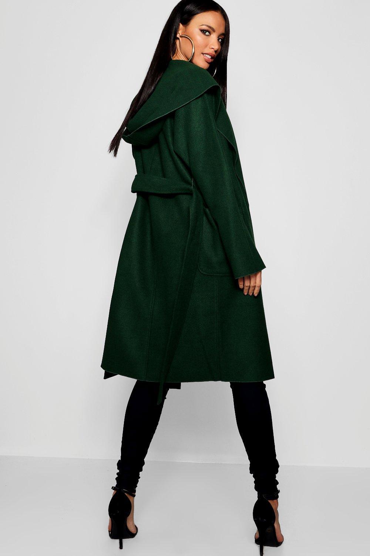 con y cinturón Abrigo midnight efecto capucha green con 8PddTw