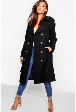 Womens Black Belted Wool Look Trench