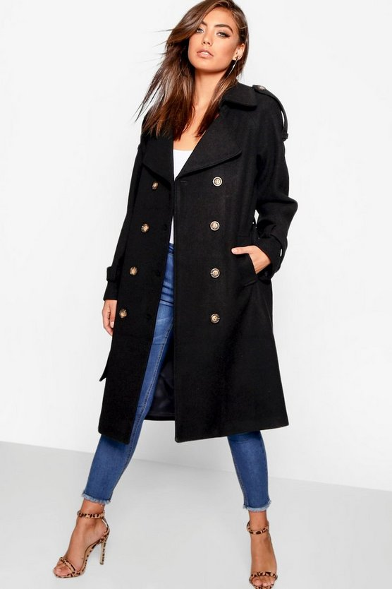 Belted Wool Look Trench