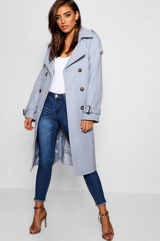 Womens Dusty blue Belted Wool Look Trench