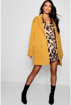 Womens Mustard Button Wool Look Coat